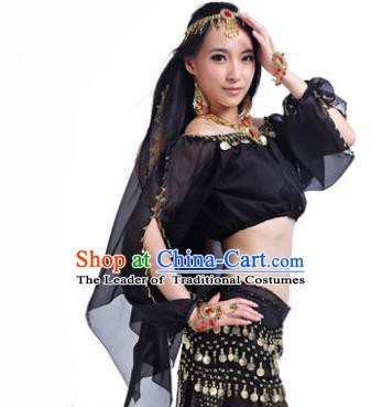 Asian Indian Belly Dance Hair Accessories Frontlet and Black Veil for Women