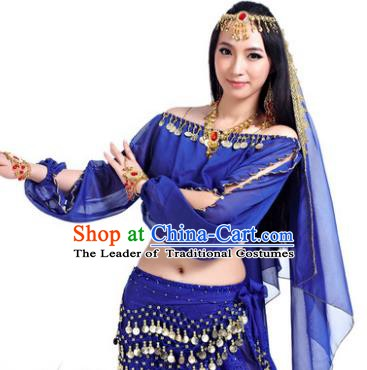 Asian Indian Belly Dance Hair Accessories Frontlet and Royalblue Veil for Women