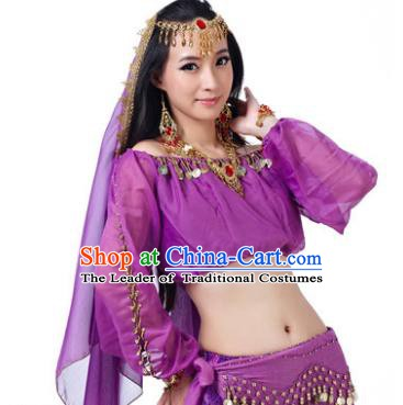 Asian Indian Belly Dance Hair Accessories Frontlet and Purple Veil for Women