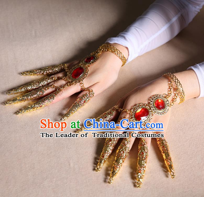 Asian Indian Belly Dance Accessories Nail Wrap Bracelet India National Dance Ring for Women