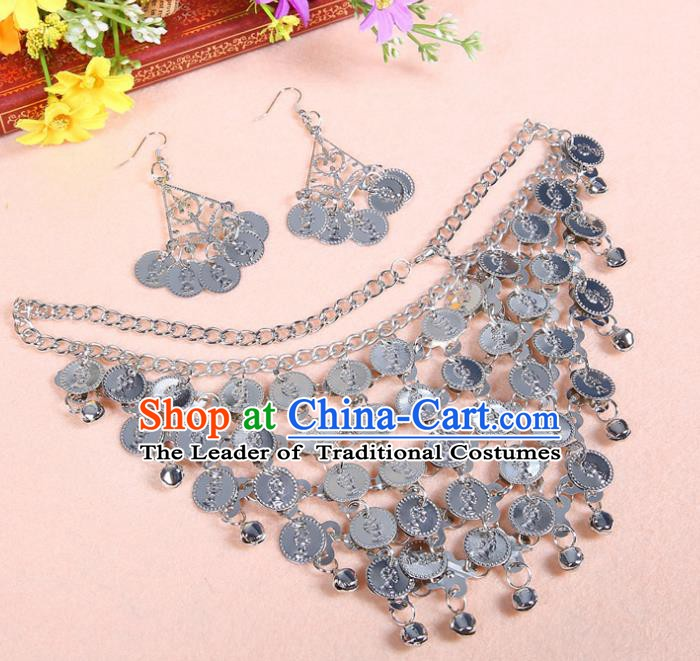 Asian Indian Belly Dance Accessories India National Dance Necklace and Earrings for Women