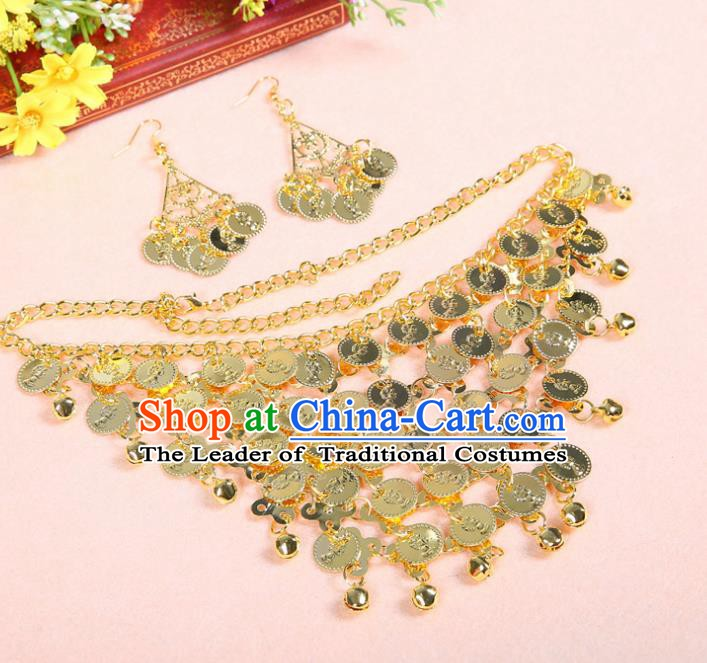 Asian Indian Belly Dance Accessories India National Dance Golden Necklace and Earrings for Women