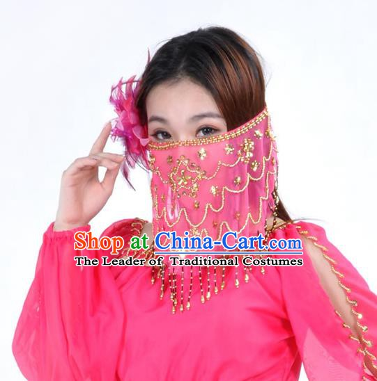 Asian Indian Belly Dance Rosy Veil India National Dance Mask Veil for Women