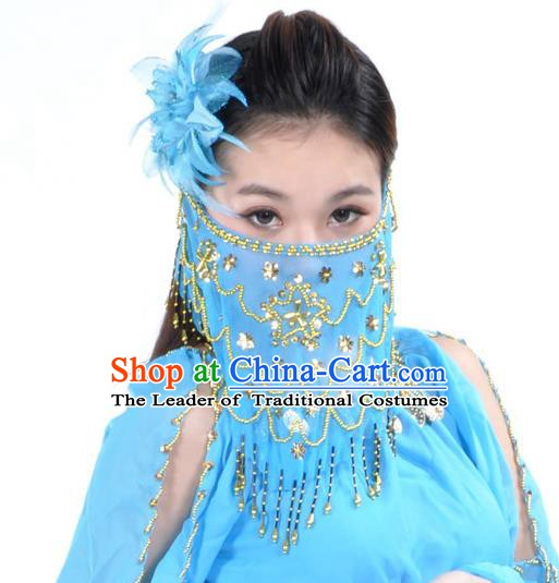Asian Indian Belly Dance Blue Veil India National Dance Mask Veil for Women