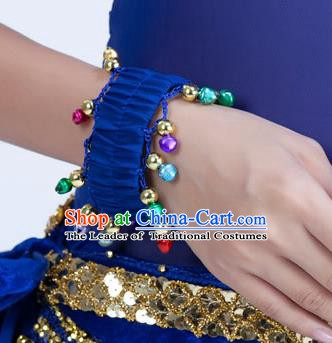 Oriental Indian Belly Dance Accessories Deep Blue Bracelets India Raks Sharki Bells Bangle for Women