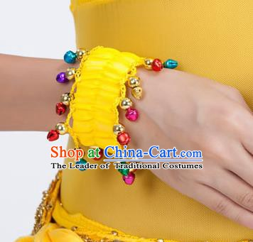 Oriental Indian Belly Dance Accessories Yellow Bracelets India Raks Sharki Bells Bangle for Women