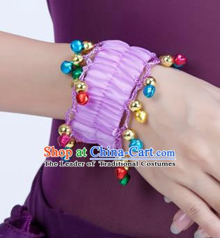Oriental Indian Belly Dance Accessories Lilac Bracelets India Raks Sharki Bells Bangle for Women