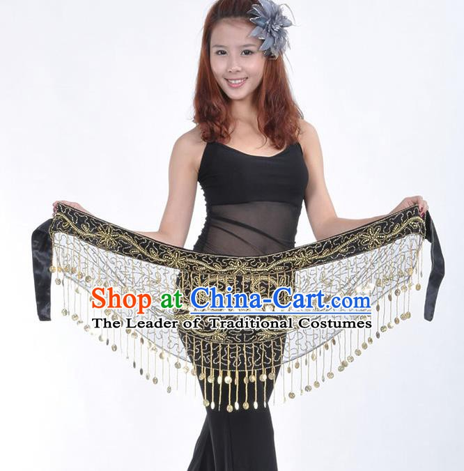 Asian Indian Belly Dance Paillette Black Buttocks Scarf Tassel Waistband India Raks Sharki Belts for Women
