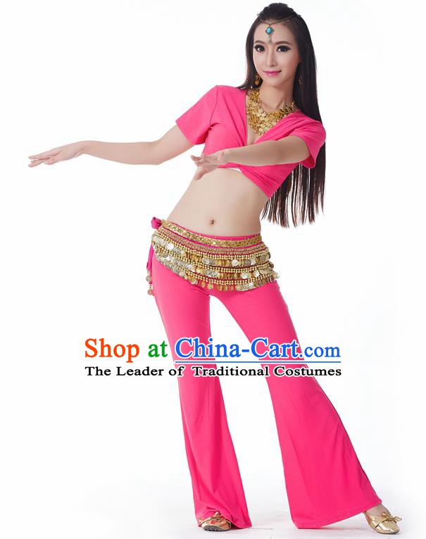 Asian Indian Belly Dance Costume Stage Performance Yoga Rosy Outfits, India Raks Sharki Dress for Women
