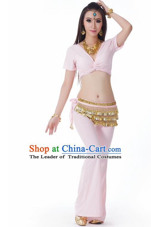 Asian Indian Belly Dance Costume Stage Performance Yoga Pink Outfits, India Raks Sharki Dress for Women