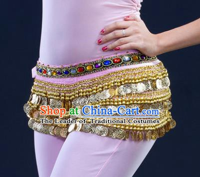 Asian Indian Belly Dance Paillette Pink Waist Chain Tassel Waistband India Raks Sharki Belts for Women