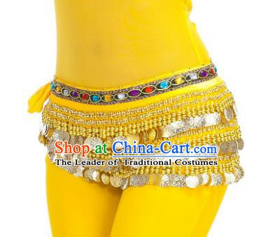 Asian Indian Belly Dance Paillette Yellow Waist Chain Tassel Waistband India Raks Sharki Belts for Women