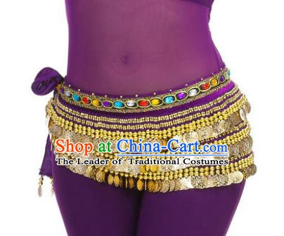 Asian Indian Belly Dance Paillette Purple Waist Chain Tassel Waistband India Raks Sharki Belts for Women