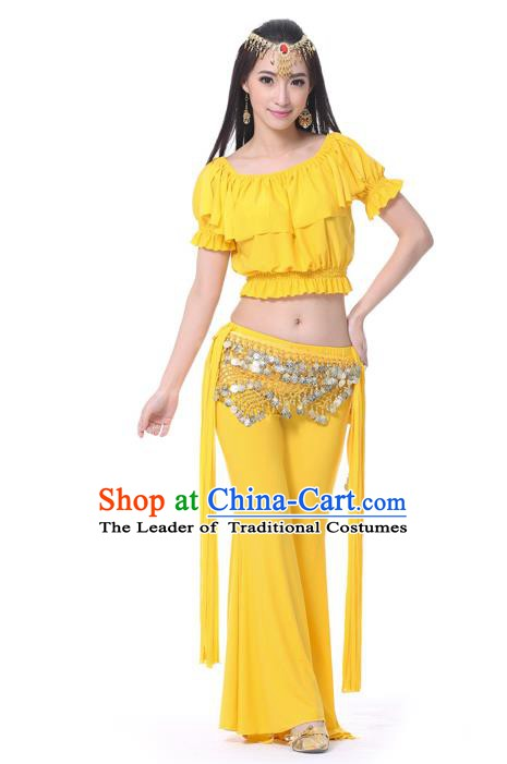 Indian Belly Dance Yellow Uniform India Raks Sharki Dress Oriental Dance Rosy Clothing for Women