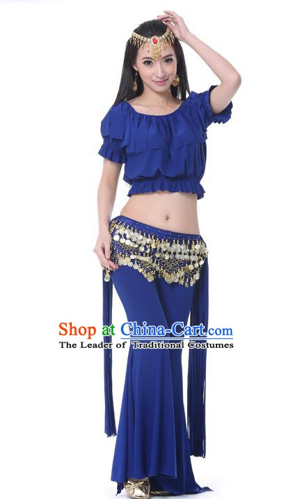 Indian Belly Dance Navy Uniform India Raks Sharki Dress Oriental Dance Rosy Clothing for Women