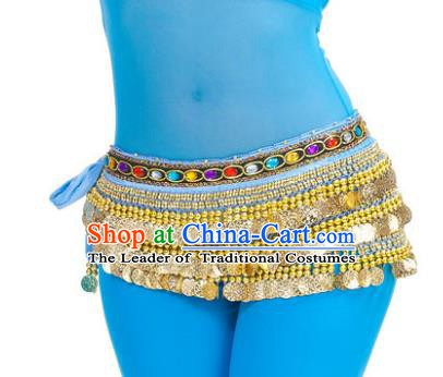 Asian Indian Belly Dance Paillette Blue Waist Chain Tassel Waistband India Raks Sharki Belts for Women