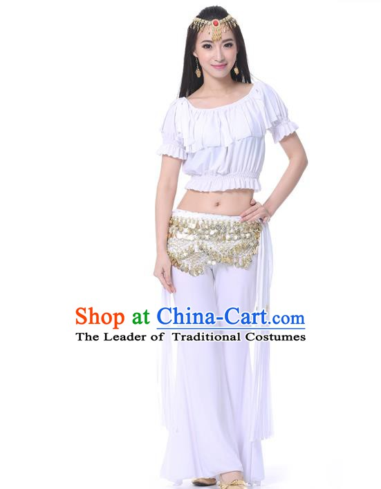 Indian Belly Dance White Uniform India Raks Sharki Dress Oriental Dance Rosy Clothing for Women
