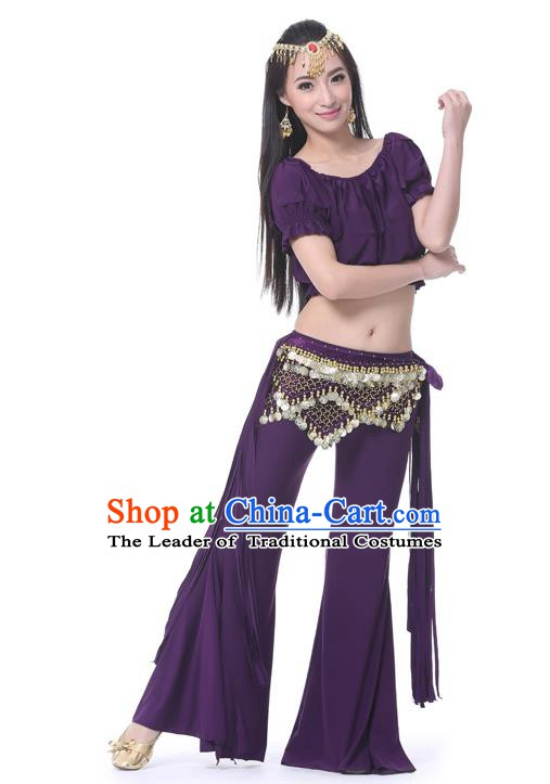 Indian Belly Dance Purple Uniform India Raks Sharki Dress Oriental Dance Rosy Clothing for Women
