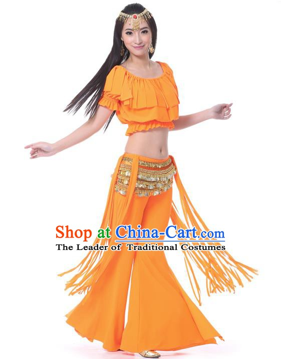 Indian Belly Dance Orange Uniform India Raks Sharki Dress Oriental Dance Rosy Clothing for Women