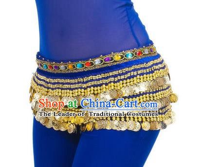 Asian Indian Belly Dance Paillette Royalblue Waist Chain Tassel Waistband India Raks Sharki Belts for Women