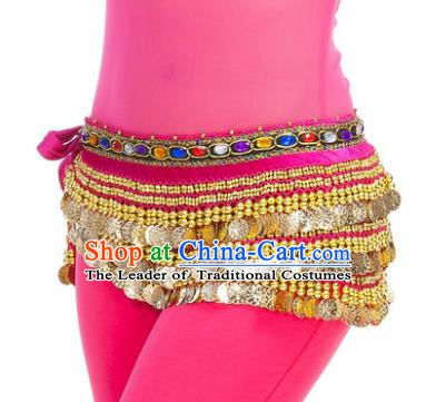 Asian Indian Belly Dance Paillette Rosy Waist Chain Tassel Waistband India Raks Sharki Belts for Women