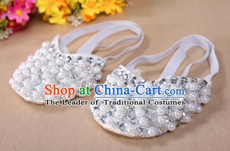 Asian Indian Belly Dance Shoes India Traditional Dance White Beads Soft Shoes for for Women
