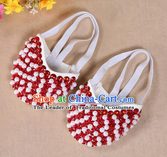 Asian Indian Belly Dance Shoes India Traditional Dance Red Beads Soft Shoes for for Women