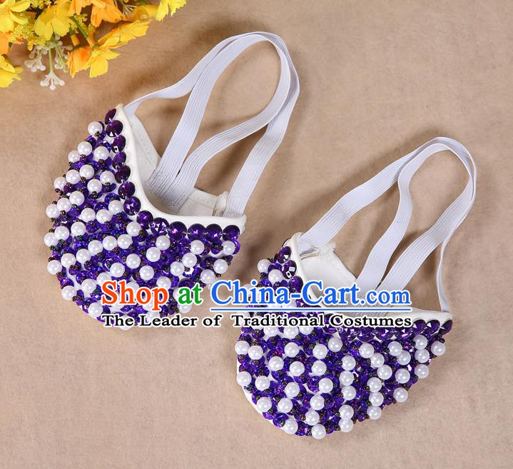 Asian Indian Belly Dance Shoes India Traditional Dance Purple Beads Soft Shoes for for Women