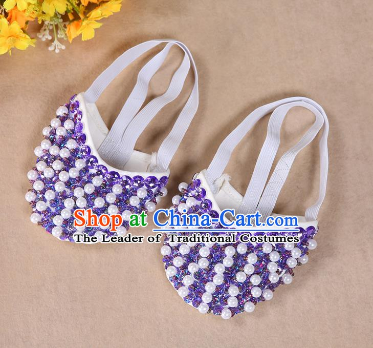 Asian Indian Belly Dance Shoes India Traditional Dance Light Purple Beads Soft Shoes for for Women
