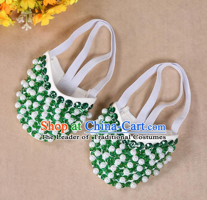 Asian Indian Belly Dance Shoes India Traditional Dance Green Beads Soft Shoes for for Women