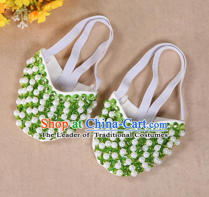 Asian Indian Belly Dance Shoes India Traditional Dance Light Green Beads Soft Shoes for for Women