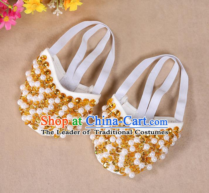 Asian Indian Belly Dance Shoes India Traditional Dance Yellow Beads Soft Shoes for for Women