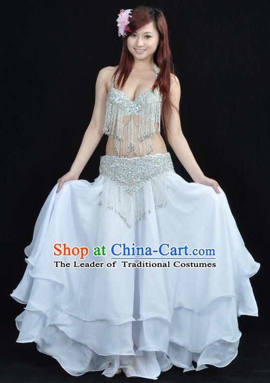 Indian Belly Dance White Dress India Raks Sharki Dress Oriental Dance Costume for Women
