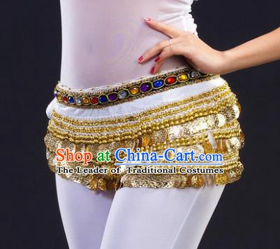 Asian Indian Belly Dance Paillette White Waist Chain Tassel Waistband India Raks Sharki Belts for Women