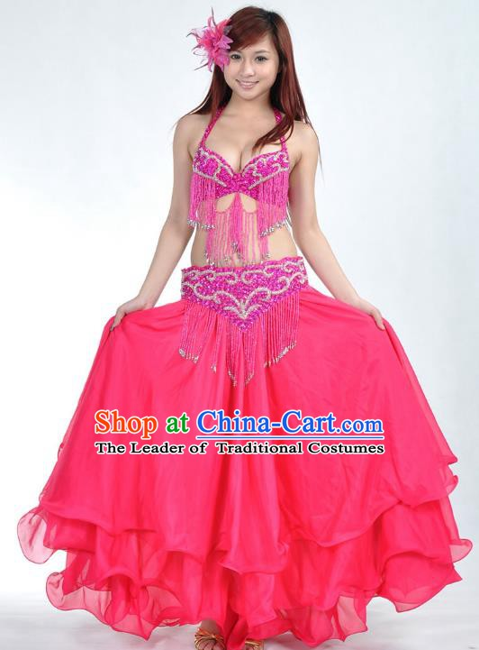 Indian Belly Dance Rosy Costume India Raks Sharki Dress Oriental Dance Clothing for Women