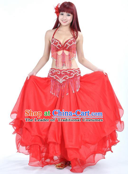 Indian Belly Dance Red Costume India Raks Sharki Dress Oriental Dance Clothing for Women