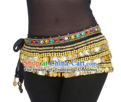 Asian Indian Belly Dance Paillette Black Waist Chain Tassel Waistband India Raks Sharki Belts for Women