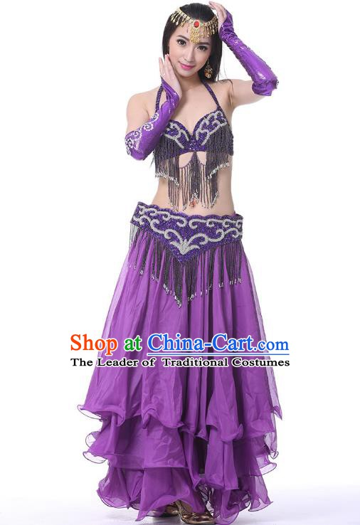 Indian Belly Dance Purple Costume India Raks Sharki Dress Oriental Dance Clothing for Women
