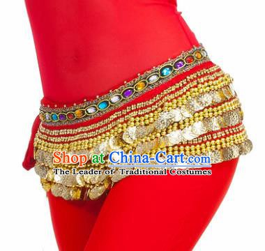 Asian Indian Belly Dance Paillette Red Waist Chain Tassel Waistband India Raks Sharki Belts for Women