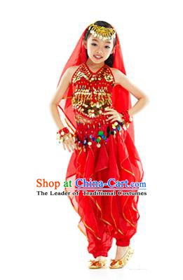 Indian Belly Dance Red Costume India Raks Sharki Dress Oriental Dance Clothing for Kids