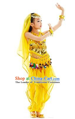 Indian Belly Dance Yellow Costume India Raks Sharki Dress Oriental Dance Clothing for Kids