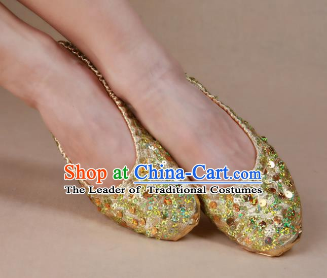 Asian Indian Belly Dance Shoes India Traditional Dance Golden Paillette Soft Shoes for for Women