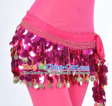 Indian Traditional Belly Dance Rosy Tassel Belts Waistband India Raks Sharki Waist Accessories for Women