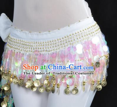 Indian Traditional Belly Dance White Tassel Belts Waistband India Raks Sharki Waist Accessories for Women
