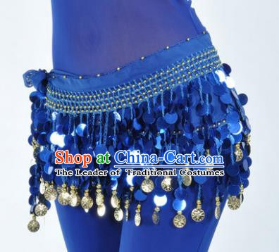 Indian Traditional Belly Dance Royalblue Tassel Belts Waistband India Raks Sharki Waist Accessories for Women
