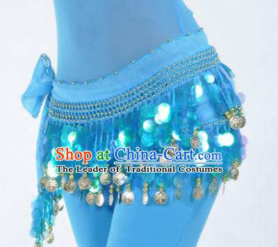 Indian Traditional Belly Dance Blue Tassel Belts Waistband India Raks Sharki Waist Accessories for Women