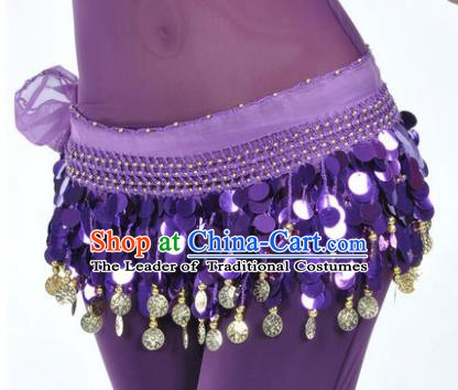 Indian Traditional Belly Dance Purple Tassel Belts Waistband India Raks Sharki Waist Accessories for Women