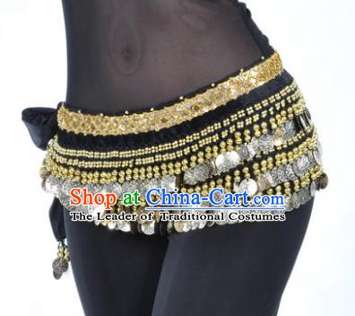 Asian Indian Belly Dance Paillette Black Waist Accessories Waistband India Raks Sharki Belts for Women