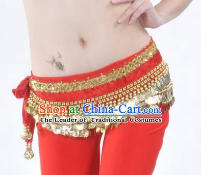 Asian Indian Belly Dance Paillette Red Waist Accessories Waistband India Raks Sharki Belts for Women