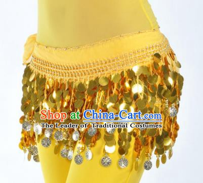 Indian Traditional Belly Dance Yellow Tassel Belts Waistband India Raks Sharki Waist Accessories for Women